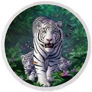 White Tigers Round Beach Towel