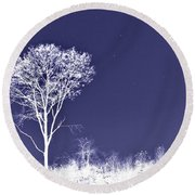 White Tree - Blue Sky - Silver Stars Round Beach Towel
