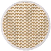 White Triangles On Burlap Round Beach Towel by Linda Woods