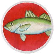 White Trout Round Beach Towel