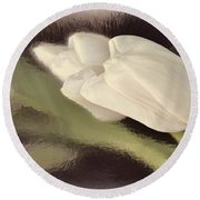 White Tulip Reflected In Misty Water Round Beach Towel