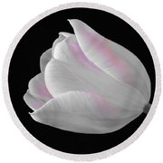Round Beach Towel featuring the digital art White Tulip With Pink by Jeannie Rhode