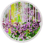 Round Beach Towel featuring the photograph White Washed Painted Lilac by Judy Palkimas