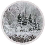 White Winter Day Round Beach Towel