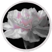 Round Beach Towel featuring the digital art White With Pink Carnation by Jeannie Rhode