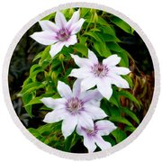 White With Purple Flowers 2 Round Beach Towel
