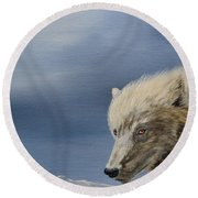 White Wolf3 Round Beach Towel by Laurianna Taylor