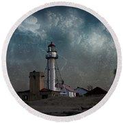Whitefish Point Lighthouse Lake Superior Round Beach Towel