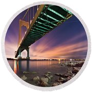 Whitestone Bridge Round Beach Towel by Mihai Andritoiu