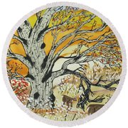 Whitetails And White Oak Tree Round Beach Towel
