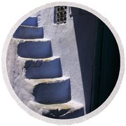 Round Beach Towel featuring the photograph Whitewashed Steps In The Medina Of Asilah On Northwest Tip Of Atlantic Coast Of Morocco by Ralph A  Ledergerber-Photography