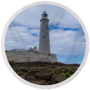 Whitley Bay St Mary's Lighthouse Round Beach Towel