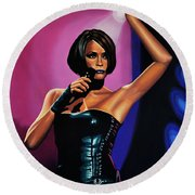 Whitney Houston On Stage Round Beach Towel by Paul Meijering