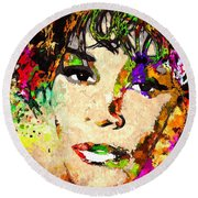 Whitney Houston Round Beach Towel