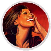 Whitney Houston Round Beach Towel by Paul Meijering