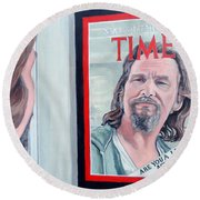 Round Beach Towel featuring the painting Who Is This Guy by Tom Roderick