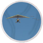 Round Beach Towel featuring the photograph Whooping Cranes And Operation Migration Ultralight by Paul Rebmann