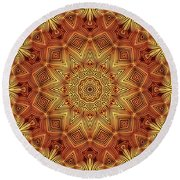 Wicker Pattern Mandala Round Beach Towel by Lyle Hatch