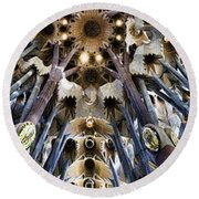 Wide Panorama Of The Interior Ceiling Of Sagrada Familia In Barcelona Round Beach Towel
