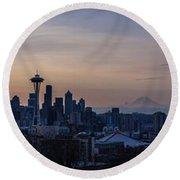 Wide Seattle Morning Skyline Round Beach Towel