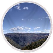 Wide Shot Of Tree Covered Hills Round Beach Towel