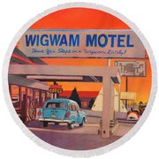 Wigwam Motel Round Beach Towel by Art James West