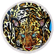 Round Beach Towel featuring the painting Wild Cat by Nora Shepley