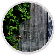 Wild Grape Vine Door Round Beach Towel