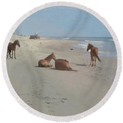 Wild Horses On The Beach Round Beach Towel