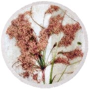 Wild Indian Rice In Autumn #2 Round Beach Towel by Louise Kumpf