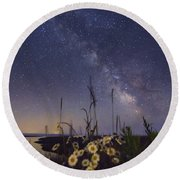 Wild Marguerites Under The Milky Way Round Beach Towel by Mircea Costina Photography