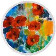 Wild Poppies Round Beach Towel by Elise Palmigiani