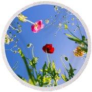 Wild Poppy Flowers Round Beach Towel