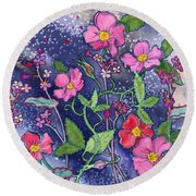 Wild Roses Round Beach Towel by Teresa Ascone