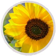 Wild Sunflower Round Beach Towel by Nadalyn Larsen
