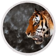 Wild Tiger Ready To Hunt On Cloud Black Background Round Beach Towel