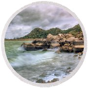 Wild Weather On Lake Altus - Oklahoma - Quartz Mountains Round Beach Towel