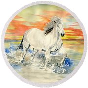 Wild White Horse Round Beach Towel by Melly Terpening