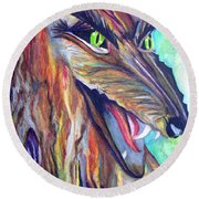 Round Beach Towel featuring the drawing Wild Wolf by Daniel Janda