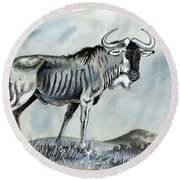 Wildebeest Round Beach Towel by Anthony Mwangi