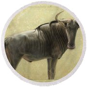 Wildebeest Round Beach Towel