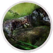Wildeyes - Panther Round Beach Towel by Carol Cavalaris