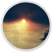 Round Beach Towel featuring the photograph Wildfire Smoky Sky by Kerri Mortenson