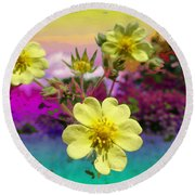 Wildflower Abstract Round Beach Towel