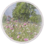 Wildflower Impressionism Round Beach Towel