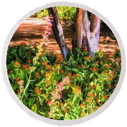 Wildflower Path Through The Woods Round Beach Towel