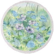 Round Beach Towel featuring the painting Wildflowers by Elizabeth Lock