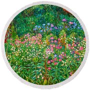 Round Beach Towel featuring the painting Wildflowers Near Fancy Gap by Kendall Kessler