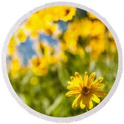 Wildflowers Standing Out Abstract Round Beach Towel