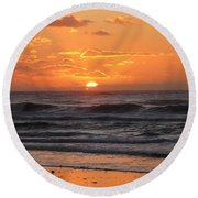 Round Beach Towel featuring the photograph Wildwood Beach Here Comes The Sun by David Dehner